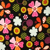 Anti-Pill Winter Fleece Large Floral Polyester Fabric - Black 29489-3