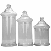 Apothecary Jar Set of 3 Assorted Sizes - Clear Glass