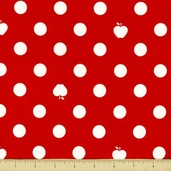 Apple Of My Eye Cotton Fabric - Dot - Red