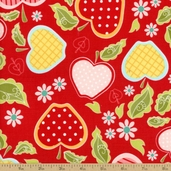 Apple of My Eye Floral Cotton Fabric - Red C2891