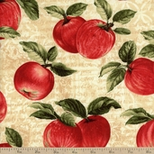 Apple Picking Time Orchard Cotton Fabric - Cream