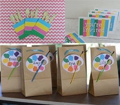 Art Party Invitations, Name Tags and Silverware Holders