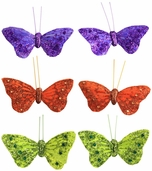 Artificial Feather Butterfly 3.25in. - Orange / Lime Green / Purple