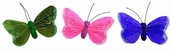 Artificial Feather Butterfly 3.5in. - Pink / Green / Purple