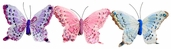 Artificial Feather Butterfly 4.5in. - Pink / Blue / Purple