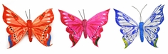 Artificial Feather Butterfly 5.25in. Set of 3 - Blue/ Oragne/ Pink