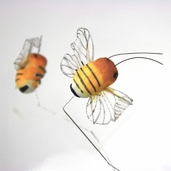 Artificial Mushroom Bee 1.25 in. - Yellow Pkgs of 3