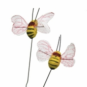 Artificial Mushroom Bee .75 in. - Yellow Pkgs of 3