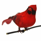 Artificial Mushroom Bird 5in. - Cardinal Pkgs of 3