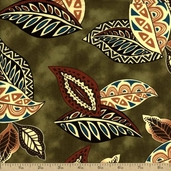 Arts and Leaf Cotton Fabric - Olive H3166-96