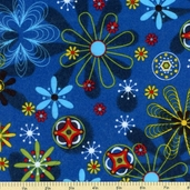 Astro Flowers Flannel Cotton Fabric - Blue