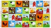At the Farm Animal Panel Cotton Fabric - Bright ALI-13021-195 BRIGHT