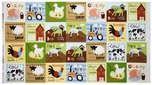 At the Farm Animal Panel Cotton Fabric - Earth ALI-13021-169 EARTH