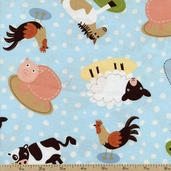 At the Farm Animal Toss Cotton Fabric - Earth ALI-13022-169 EARTH
