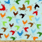 At the Farm Rooster Toss Cotton Fabric - Bright ALI-13024-195 BRIGHT