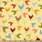 At the Farm Rooster Toss Cotton Fabric - Earth ALI-13024-169 EARTH
