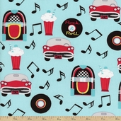 At The Hop Diner Cotton Fabric - Mint