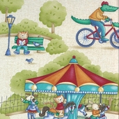At the Park Cotton Fabric - Multi - CLEARANCE