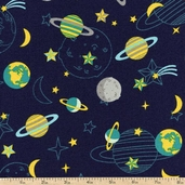 Atomic Bots Space Toss Cotton Fabric - Navy