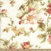 Attic Treasures Floral Cotton Fabric - Beige