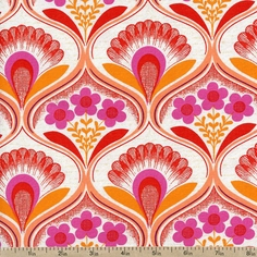 Auntie's Attic Floral Segments Canvas Fabric - Sunset