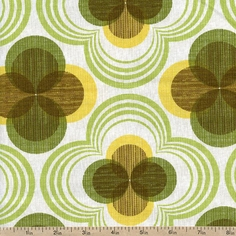 Auntie's Attic Flower Bud Canvas Fabric - Citrus