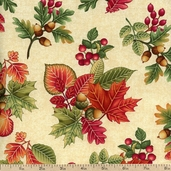 Autumn Festival Leaves Cotton Fabric - Natural