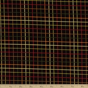 Autumn Glow Metallic Grid Plaid Cotton Fabric - Black