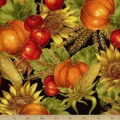 Autumn Glow Metallic Harvest Cotton Fabric - Black