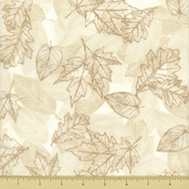 Autumn Harvest Cotton Fabric - Leaf Toile - Cream