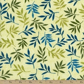 Autumn Haze Fern Cotton Fabric - Peacock - Clearance