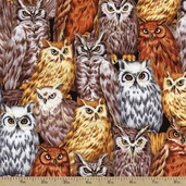 Autumn in the Forest Owls Metallic Cotton Fabric