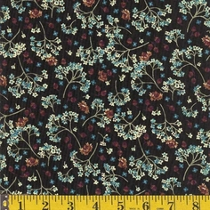 Autumn Melody Flowers/Acorns - Black - CLEARANCE