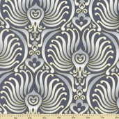 Autumn Plume Baroque Cotton Fabric - Grey CM8666