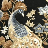 Autumn Plume Beautiful Peacock Cotton Fabric - Neutral CM8662