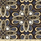 Autumn Plume Medallion Cotton Fabric - Charcoal CM8663
