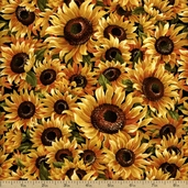 Autumn Reflections Sunflower Cotton Fabric - Black