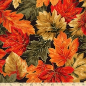 Autumn Serenade Leaves Cotton Fabric - Black
