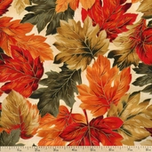 Autumn Serenade Leaves Cotton Fabric - Cream