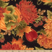 Autumn Splendor Floral Cotton Fabric - Black