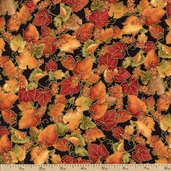 Autumn Splendor Leaves and Grapes Cotton Fabric - Black