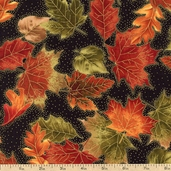 Autumn Splendor Leaves Cotton Fabric - Black