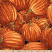 Autumn Splendor Pumpkins Cotton Fabric - Pumpkin
