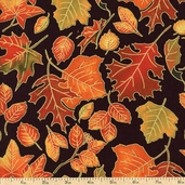 Autumn Treasures Leaf Toss Cotton Fabric - Black 1086-32620-957SM