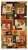 Autumn Treasures Squares Cotton Fabric Panel