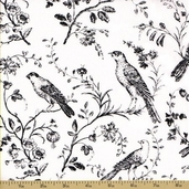 Aviary Cotton Fabric - White Birds