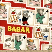 Babar Stamps Cotton Fabric - Red