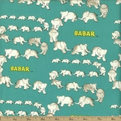 Babar Traveling Elephants Cotton Fabric - Turquoise