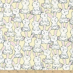 Babes in Farmland Baby Bunnies Cotton Fabric - Butter