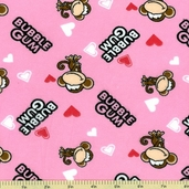 Babi Jack Bubble Gum Love Flannel Fabric - Pink